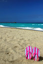 Hot pink flip flops on the beach striped sandals stuck in sand dania florida with fort lauderdale pier in background plenty of Royalty Free Stock Photos