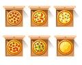 Hot pizza in craft paper box