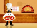 Hot pizza illustration of pizzeria italian restaurant Stock Image