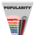 Hot and popular extremely concept thermometer jumping to popularity levels on white background Stock Image