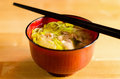 Hot pork vegetables ramen Stock Image