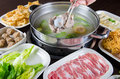 Hot pot meal chinese style ready for serving Royalty Free Stock Images