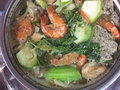 Hot pot with seafoods and vegetables Royalty Free Stock Photo