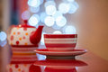 Hot red cup of coffee or tea Royalty Free Stock Photo