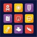 Hot Rod Icons Flat Design Royalty Free Stock Photo