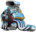 Hot rod race car engine cartoon, lots of chrome, huge intake, fat exhaust pipes, vector illustration Royalty Free Stock Photo