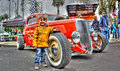 Hot rod with a young boy Royalty Free Stock Photo