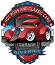 Hot Rods and Classic Cars Garage Vintage Sign Vector Illustration