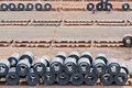 Hot roll coil in coil yard. Royalty Free Stock Photos