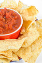 Hot salsa and salty chips Royalty Free Stock Photos