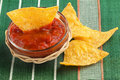 Hot sauce with nachos bowl of on green tablecloth Royalty Free Stock Photo