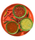 Hot sauces variety of spicy vegetable Stock Photography