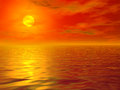 Hot sea sunset illustration of background Stock Photos
