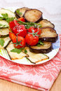 Hot Snack of aubergine and tomato Royalty Free Stock Images