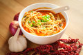 Hot and spicy curry noodle on the table Royalty Free Stock Photo