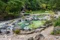 Hot spring pool in Kusatsu park in Japan Royalty Free Stock Photo