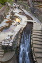 Hot spring stream flowing pass town centre of Arima Onsen in Kita-ku, Kobe, Japan. Royalty Free Stock Photo