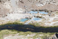 Hot springs at hot creek geological site near mammoth Stock Image