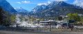 Hot springs and mountains view of in ouray colorado Royalty Free Stock Photo