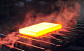 Hot steel sheet on conveyor metal Royalty Free Stock Photo