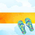 Hot summer fun grunge sun banner with flipflops and clouds tropical concept Stock Photography