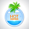 Hot summer illustration circle label Stock Photos