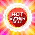 Hot summer sale retro vector illustration on colorful background Stock Photos