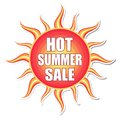 Hot summer sale in sun label banner text red orange yellow with shape business concept Royalty Free Stock Images