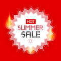 Hot summer sale vector background with flames Stock Image