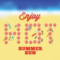 Hot summer sun vector card with beach background people on the Royalty Free Stock Photos