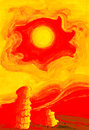 Hot sun in yellow sky over the red hot desert stylized drawing Stock Photos