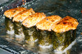 Hot sushi many rolls shallow dof Royalty Free Stock Images
