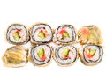 Hot sushi roll in flat cake Stock Photos