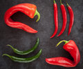 Hot and sweet chilli peppers. Royalty Free Stock Photo