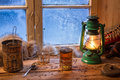 Hot tea in cold winter day on old wooden table Stock Images