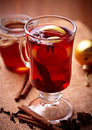 Hot tea with lemon and spices Royalty Free Stock Photography