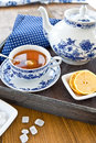 Hot tea with a slice of lemon fresh on wooden tray Stock Images