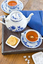 Hot tea with a slice of lemon fresh on wooden tray Royalty Free Stock Image