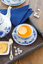 Hot tea with a slice of lemon fresh on wooden tray Royalty Free Stock Photo