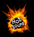 Hot tours. Concept vector illustration with fire. Royalty Free Stock Photo