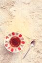 Hot turkish tea outdoors near water. Turkish tea and traditional Royalty Free Stock Photo