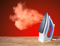Hot vertical new iron throws cloud Royalty Free Stock Photo