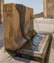 Hot water fountain one of the numerous fountains in the town of caldes de montbui in northeastern spain it shows a modern design Royalty Free Stock Images