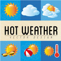 Hot weather over grunge background vector illustration Royalty Free Stock Photography