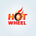 Hot Wheel in Fire flame Logo design vector template. Car Logotype. Concept icon for race, auto repair service, tire shop.