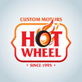 Hot Wheel in Fire flame Vintage Logo design  template. Car Logotype. T-shirt design. Concept icon for race. Royalty Free Stock Photo