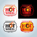 Hot Wheel in Fire flame Vintage Logo design vector template. Car Logotype. T-shirt design. Concept icon for race. Royalty Free Stock Photo