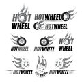 Hot wheel, Racing flat labels set. Blaze and flash logo, emblem, auto transport, flame tire, isolated illustrations.