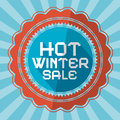 Hot winter sale retro background blue vector Royalty Free Stock Photo