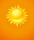Hot yellow sun icon on orange background Royalty Free Stock Image